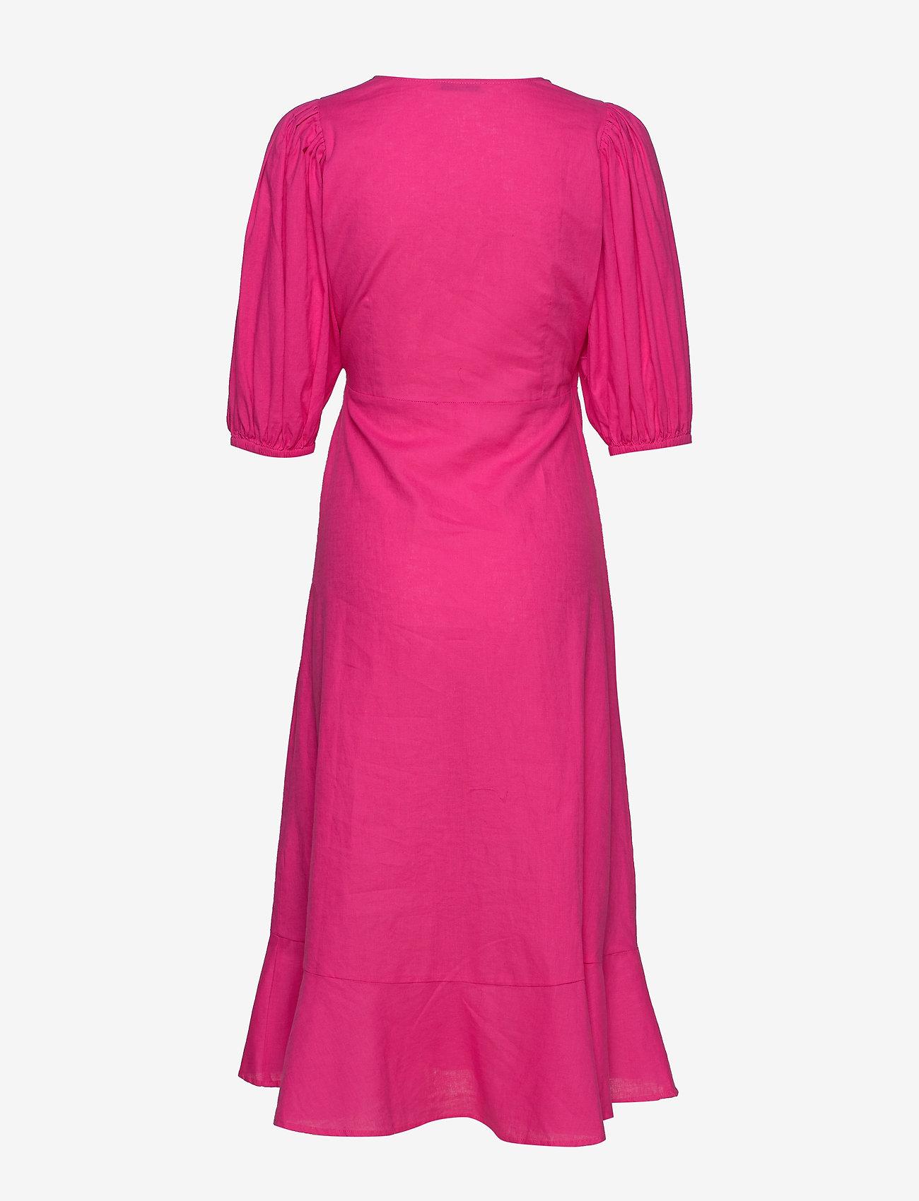 Gina Tricot - Ella linen wrap dress - kietaisumekot - pink peacock (3208)