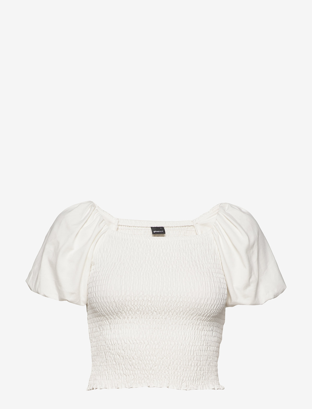 Gina Tricot - Nelma puff sleeve top - crop tops - offwhite - 0