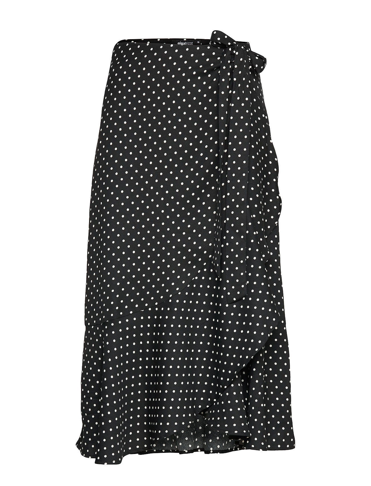 Gina Tricot Fran wrap skirt - BLACK/WHITE DOT