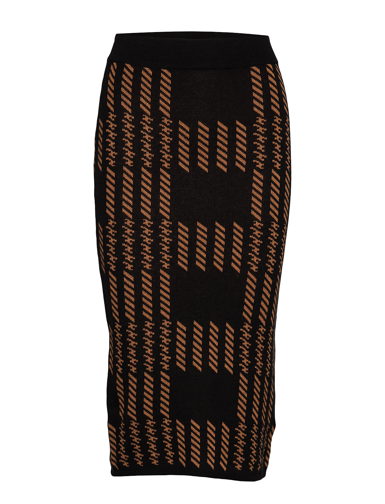 Gina Tricot Natalie knitted skirt - BLACK/BROWN