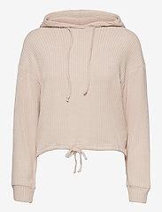Gina Tricot - Stina rib hoodie - hættetrøjer - beige (1040) - 0