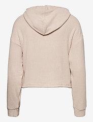 Gina Tricot - Stina rib hoodie - hættetrøjer - beige (1040) - 1