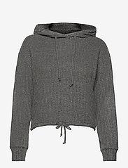 Stina rib hoodie - GREY MELANGE (8181)