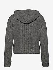 Gina Tricot - Stina rib hoodie - hættetrøjer - grey melange (8181) - 1