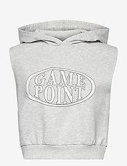Gina Tricot - Kalyn sleeveless hoodie - hættetrøjer - lt greymelange (8049) - 0