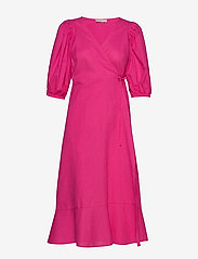 Gina Tricot - Ella linen wrap dress - kietaisumekot - pink peacock (3208) - 0
