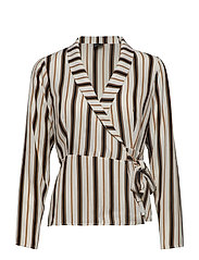 Ingrid wrap blouse - LT BEIGE ST