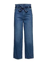 Belted paperbag jeans - MID BLUE