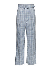 Marika belted trousers - BLUE CHECK
