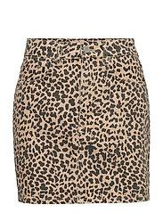 Hi-waist short denim skirt - LEOPARD