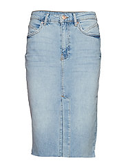 Midi slit denim skirt - MID BLUE