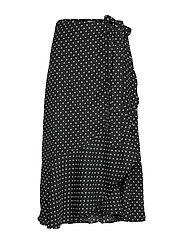 Fran wrap skirt - BLACK/WHITE DOT