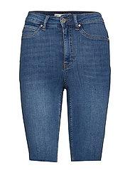 Molly biker denim shorts - MID BLUE