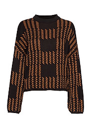Gina Tricot Natalie knitted sweater - BLACK/BROWN