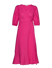 Ella linen wrap dress - PINK PEACOCK (3208)