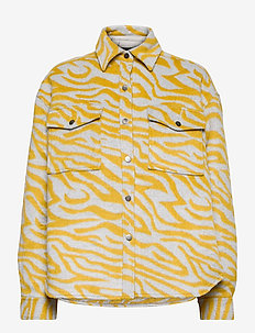 Fanny shirt jacket - wool jackets - yellow zebra (2233)