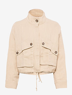 Maja linen trucker jacket - utility jassen - bleached sand (7049)