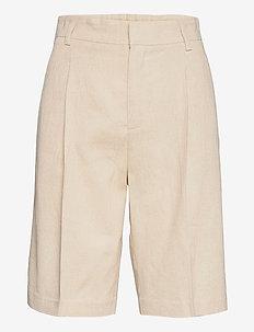Caroline linen shorts - bermudas - linen beige (1061)