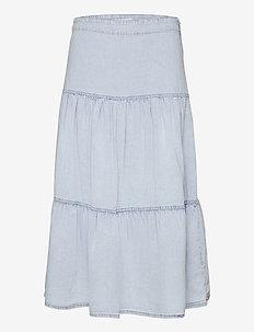 Flounce denim skirt - midi nederdele - blue