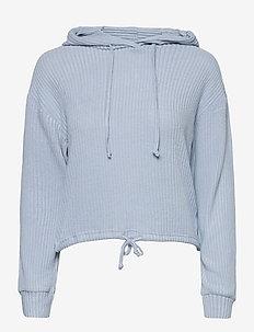 Stina rib hoodie - hoodies - blue fog (5080)
