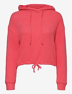 Stina rib hoodie - hoodies - calypso coral (3922)