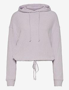 Stina rib hoodie - hoodies - evening haze (4157)