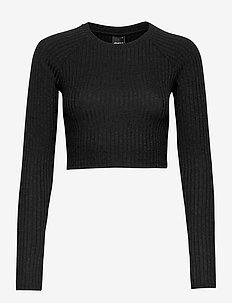 Kinsley rib top - crop tops - black (9000)