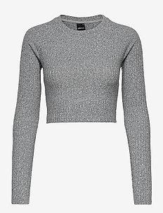 Kinsley rib top - crop tops - grey melange (8181)
