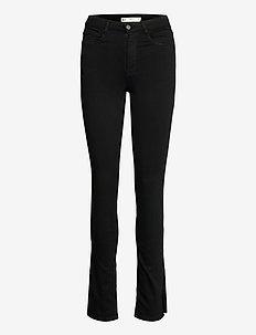 Molly slit jeans - raka byxor - black (9000)