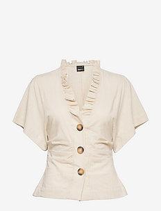 Tyra shirt - blouses à manches courtes - lt linen beige (1037)