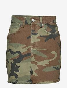 Hi-waist short denim skirt - CAMO