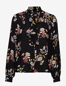 Dolores tie neck blouse - BLOSSOM BRANCH