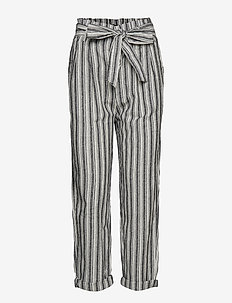 Therese paperbag linen trousers - OFFBLACK/OFFWHI
