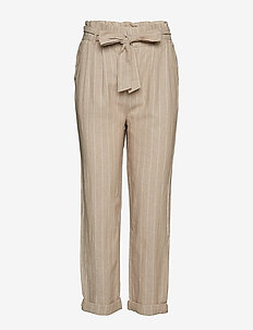 Therese paperbag linen trousers - SANDSTONE/OFFW