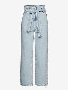 Belted paperbag jeans - LT BLUE