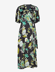 Dita wrap dress - GREEN PAISLEY