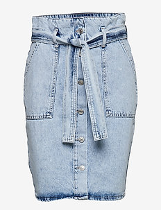 Paperbag button up denim skirt - SNOW WASH