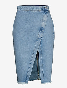 Ebba wrap denim skirt - LT BLUE