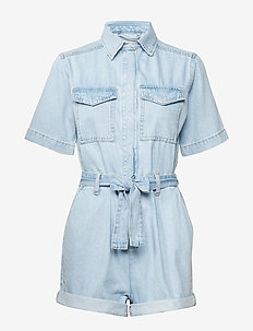 The denim romper - LT BLUE