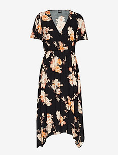Satina dress - BLACK/ORANGE