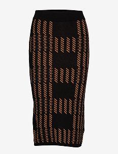 Natalie knitted skirt - BLACK/BROWN