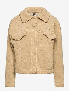 Mindy trucker jacket - sztuczne futro - beige (1040)