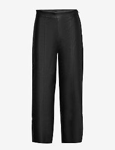 Holly pu culotte trousers - skinnbyxor - black (9000)