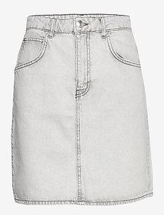 Mom denim skirt - korte nederdele - bleached grey (8015)