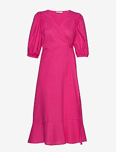 Ella linen wrap dress - omslagskjoler - pink peacock (3208)