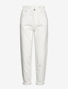 Paperbag mom jeans - dżinsy chłopaka - raw white