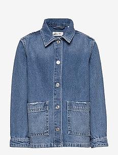 Mini worker jacket - denim & corduroy - mid blue