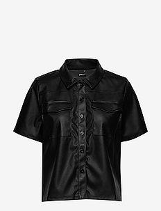 Mia pu shirt - kortärmade blusar - black (9000)