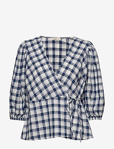Ella linen wrap shirt - kortärmade blusar - navy grid (5272)