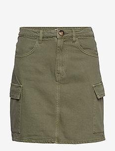 Cargo denim skirt - jeanskjolar - cargo green (6950)